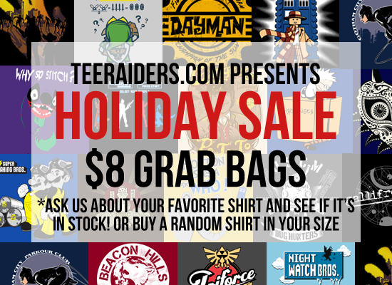 TeeRaiders Grab Bag Tee Party | All Previous t-shirts for sale for $8
