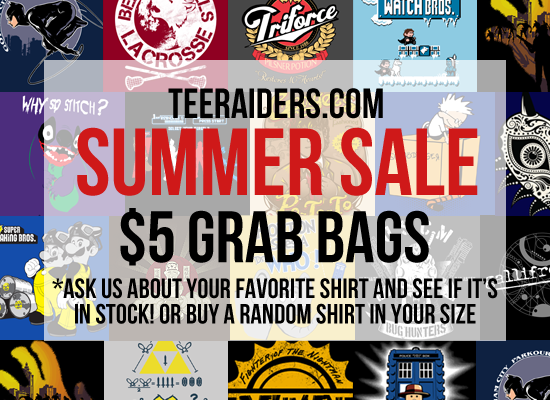 TeeRaiders Grab Bag Tee Party | All Previous t-shirts for sale for $5